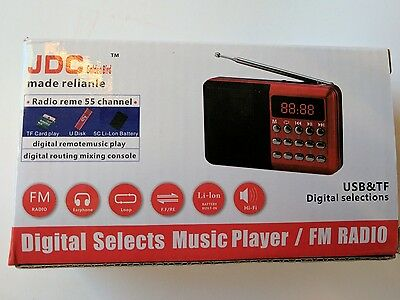 JDC Mini Digital FM Radio Speaker SD Card with Rechargeable Battery