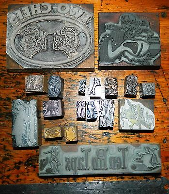 Letterpress Printing Printer Block Press Wood Metal Type Lots People Dancers Etc
