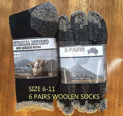 6 Pairs 6-11 Heavy Duty Australian Merino Extra Thick Wool Work Sock Black Brown