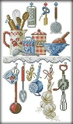 Kitchenware. 14CT counted cross stitch. Craft brand new