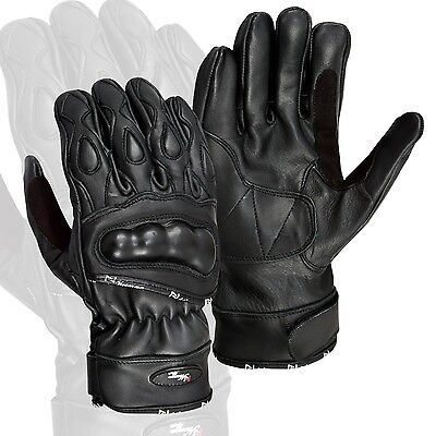 Black Summer Leather Motorcycle Gloves Motorbike Carbon Knuckle Pads
