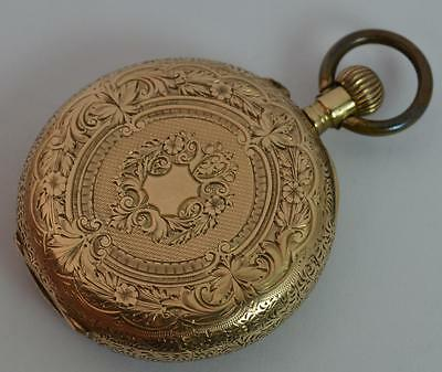 14ct Gold Ladies Pocket or Fob Watch with Floral Design - Working t0890