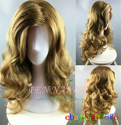 New Women Long Wavy Curly dark Blonde Party Hair Full Cosplay Heat Resistant Wig