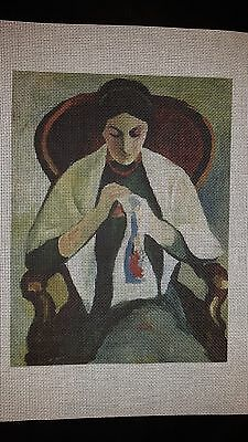 Macke Woman Embroidering Printed Needlepoint Canvas by Keith Venne of Venne Art