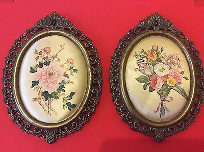 Two small cushioned printed silk type floral plaques ornate frames Italy