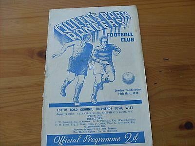 QPR Res v Watford Res  programme dated 19-3-1938   (R385)