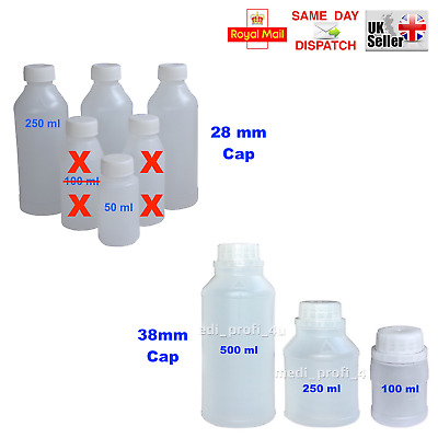 50x 100x PLASTIC BOTTLES HDPE CAP 28mm or 38mm, 4 SIZES LATEX RESIN TRAVEL FAST