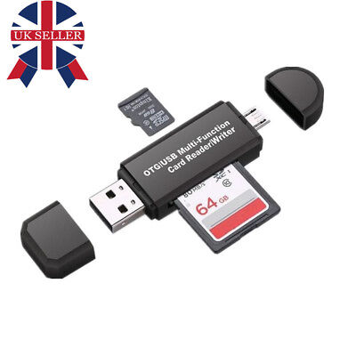 UK Micro USB OTG to USB 2.0 Adapter SD/Micro SD Card Reader For Smartphones/PC