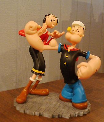 Extremely Rare! Popeye Figurine Statue Olive Checking Popeye's Muscles
