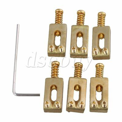6pcs Gold Color BQLZR Brass Compensated Saddles for Electric Guitar Bridge