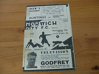 Norwich Res v Birmingham Res programme dated 8-4-1950   (R525)