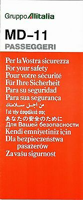 Safety Card ALITALIA MD-11 PASSEGGERI 11/91 * MINT * PERFECT * Air Airline Italy