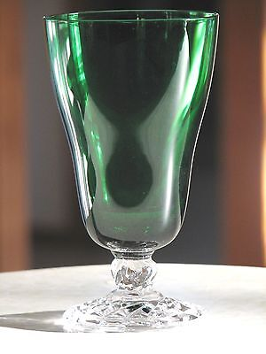 Fostoria Glass COLONIAL DAME Emerald Green Iced Tea Goblets w/ Clear Stems