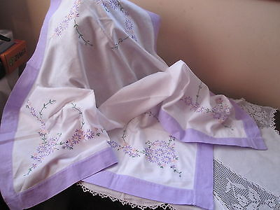 Vintage Linen Tablecloth Hand Embroidered Flowers And Matching Colour Trim