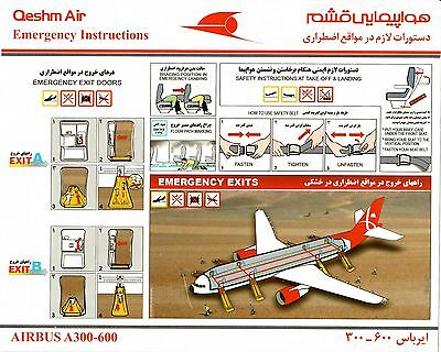 Safety Card QESHM AIR Airbus A300-600 *Extremly RARE* Original Iran Airline