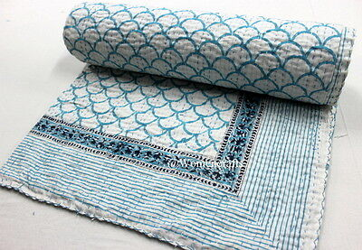 Indian Queen Size Kantha Bed Cover Vintage Cotton Bedspread Throw Gudri Blanket