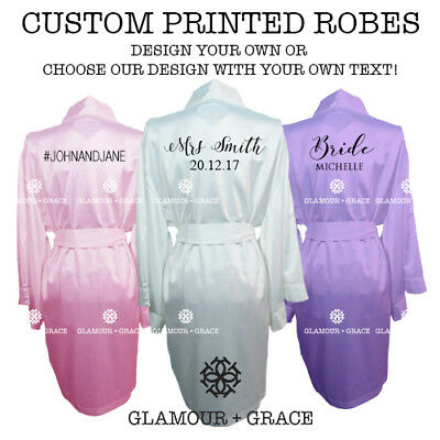 CUSTOM Personalised Printed Bridal Satin Robe Bride Dressing Gown Wedding