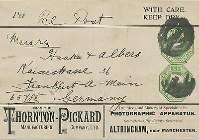 2441 1895 VF QV printed to order ADVERTISING PARCEL LABEL w compound stamps 1 SH