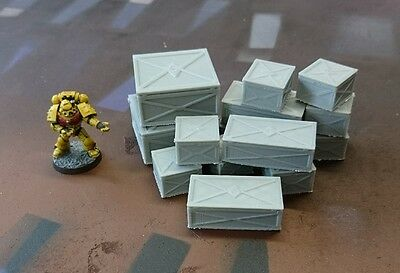*SCENERY* 14 28mm metal crates, 40K, Necromunda, Malifaux, Bolt Action Warhammer