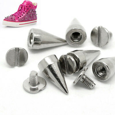 100PC 14mm Silver Cone Spots Metal Studs Leathercraft Rivets Bullet Spikes Screw