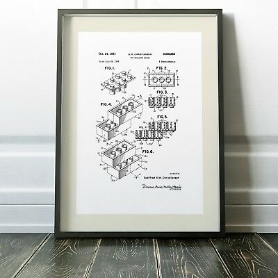 LEGO PATENT Blueprint Digitally Restored Two Sizes Print Poster NEW EXCLUSIVE