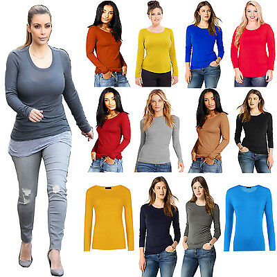 New Ladies Plain Stretch Round Scoop Neck T Shirt Tee Fitted Long Sleeves UK TOP