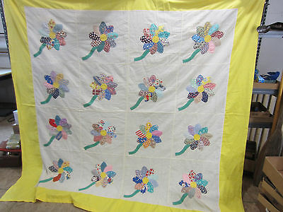 Vintage Machine Sewn Applique Quilt Top or Table Cloth- Flower Pattern