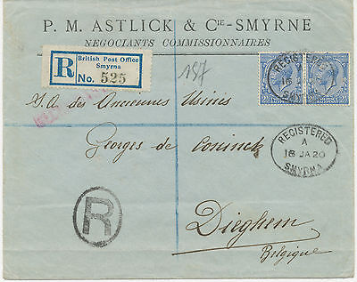 BRITISH LEVANT 1920 George 2 ½ D (2) registered cvr British Post Office / Smyrna