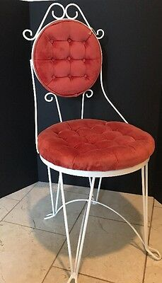 VINTAGE Teena Original WROUGHT IRON TUFTED Red VELVET VANITY CHAIR