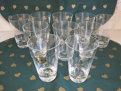 Gorgeous Set of 10 Belfor Hand Made Czech Etched Crystal Glasses NEW OLD Stock
