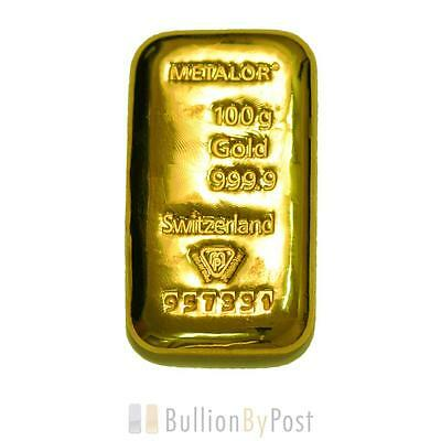 Metalor 100 Gram Gold Bar Cast
