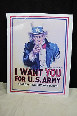 """UNCLE SAM """" I WANT YOU FOR U.S. ARMY """" Old Post Office Sign, Govt Issued"""
