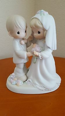 """Precious Moments 1994 """"I Give You My Love Forever True"""" Bride and Groom"""