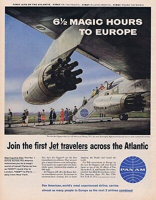 1958 PAN AM AMERICAN JET AIRLINES BOEING 707 EUROPE TRAVEL FLY Vintage Print Ad