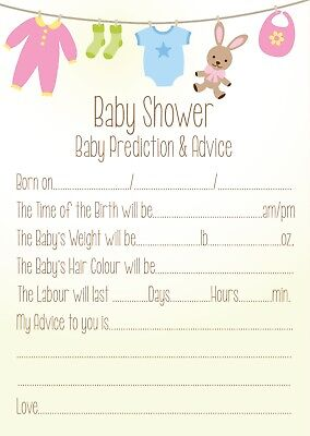 Baby Shower Prediction and advice Neutral theme Cards QTY 16 for boy or girl