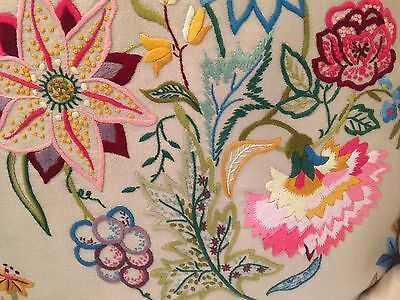 Vintage Hand Embroidered Cushions x 2 EXQUISITE FLOWERS