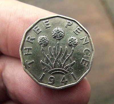 1941 Three Pence coin of King George VI. Very Fine
