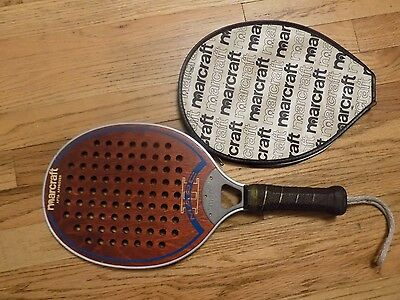 "Vintage MARCRAFT USA PADDLEBALL PLATFORM TENNIS RACQUET ""Marc II"" with cover"