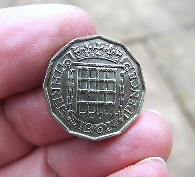 1962 Three Pence Coin of Queen Elizabeth II. VF