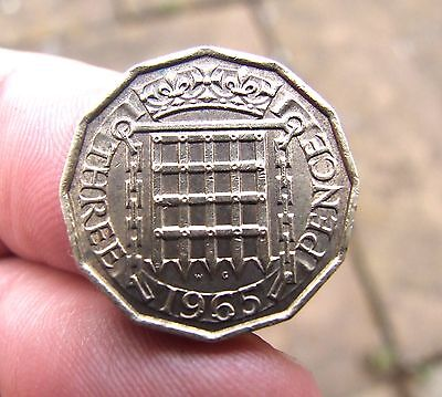 1965 Three Pence Coin of Queen Elizabeth II. VF