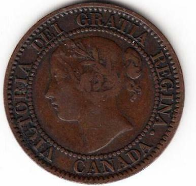 Scarce Canada Large Cent Victoria Variety 1859/8 Wide F