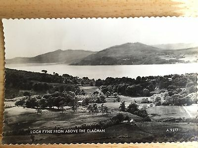 old photo postcard. loch fyne from above the clachan