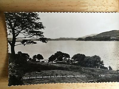 old photo postcard. loch fyne from above the creans hotel, stachur