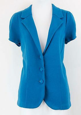 Ann Taylor LOFT Maternity Sz S Teal Cap Sleeve Knitted 3 Button Blazer *083
