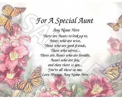 For A Special Aunt Personalized Print Poem Memory Birthday Mothers Day Gift