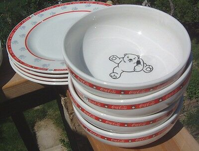 Coca Cola Bear Dinnerware set-Complete Four Place Setting!-Looks Factory Fresh!