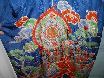 Wow! Vintage Fine Flowing Silk Kimono Short Robe Blue Green Red Antique as-is NR