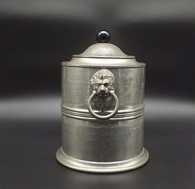 VINTAGE Old English Pewter Tea Tobacco Storage Jar with Lion Head Handles