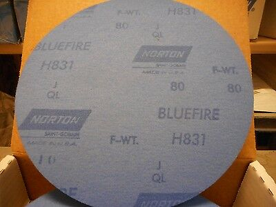 "25 Norton Bluefire 8"" Norgrip Discs, 80 Grit PLUS 8"" Back Up Pad SEE DESCRIPTION"