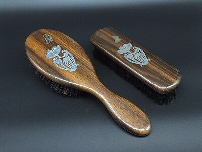 VINTAGE Real Ebony Wood Brush Set with Sterling SILVER Hallmarked Inlay England
